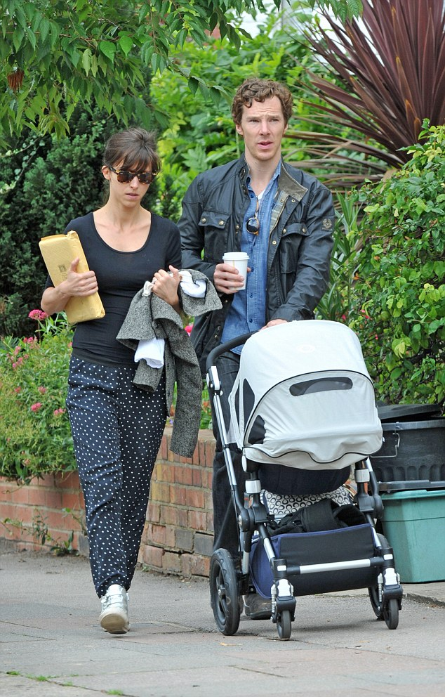 Exclusive Benedict Cumberbatch spotted in Hampstead heath high street with his new baby Christopher and his is wife heads back home after shopping. Pic TillenDove 180915